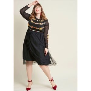 ModCloth Folklore Embroidered Long Sleeve Dress
